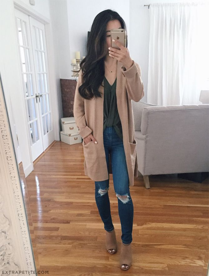fall casual outfit idea // camel tan long cardigan sweater, skinny jeans, open toe booties