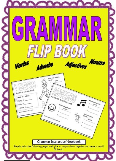 This is a FREE awesome & easy interactive notebook for Grammar. Simply print out the pages and glue/staple them together to create a cute flip book :) This flip book covers nouns, verbs, adverbs, adjectives, and contractions/apostrophes. Students brainstorm words, write sentences, and can also decorate pictures.