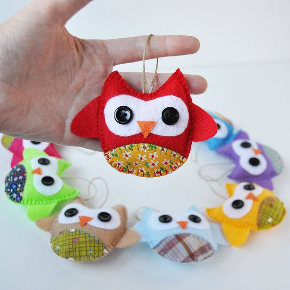 10 Eco Friendly Owl Ornaments  Baby Shower  Party by CarrotFever, $55.00