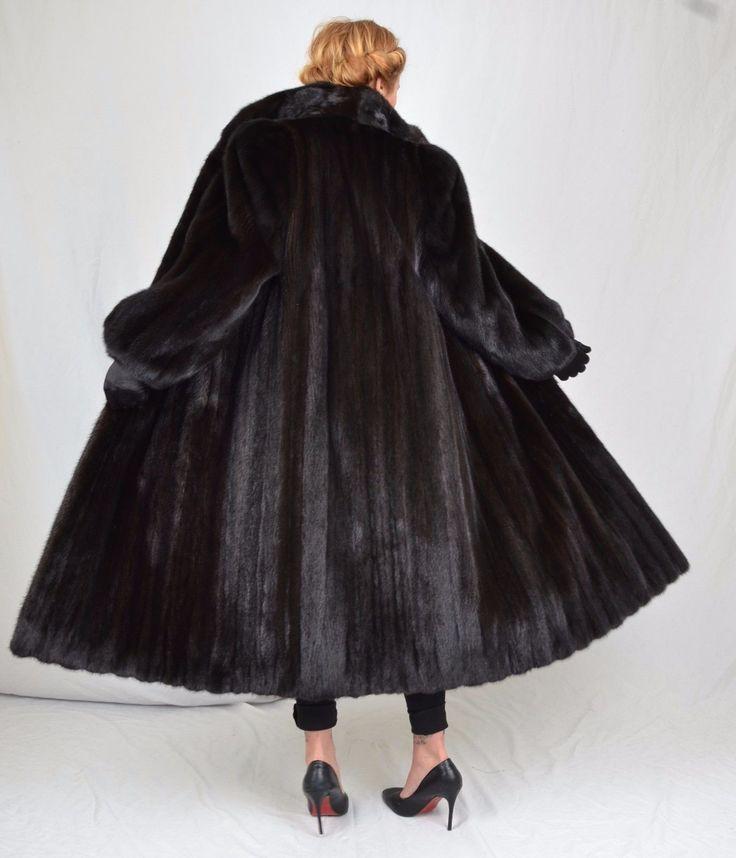 US694 Saga Mink Fur Coat Jacket FULL LENGTH abrigo de vison Nerzmantel ca. L
