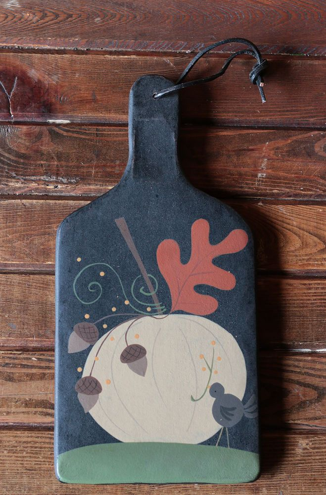 Primitive Fall Decor Pumpkin Acorn Crow Hanging Wooden Paddle Sign Hearthside #Country #HearthsideCollection