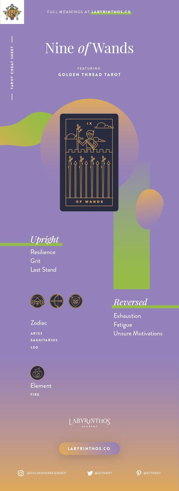 Nine of Wands Meaning - Tarot Card Meanings Cheat Sheet. Art from Golden Thread Tarot.