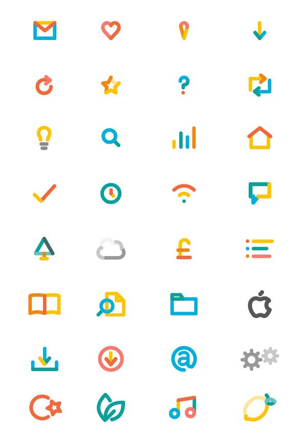 Nice Icons - unique use of colours