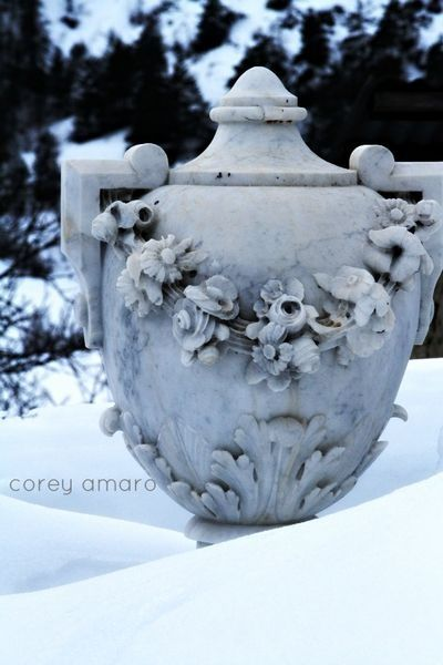 French marble urn in the snow
