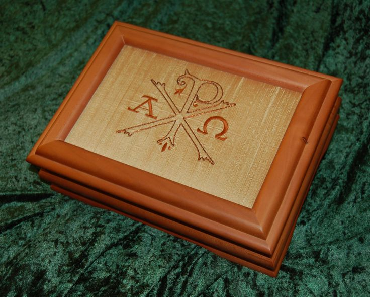 """Chi Rho Alpha Omega Keepsake Box; 8"""" x 11"""" box with 6"""" x 9"""" opening for embroidery; hand embroidered emblem on silk fabric; 4.30.17"""