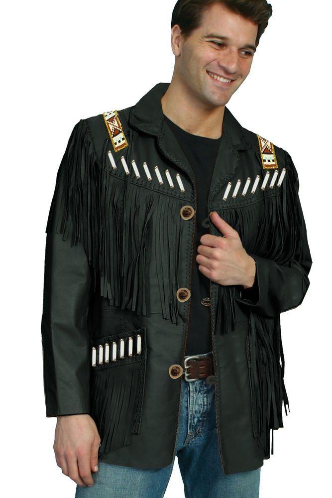 d0fc1b66f99 New Handmade Scully Mens Black Boar Suede Native Bone Fringe Jacket   Americancowboyjacket  boarsuedenativejacket  bonefringejacket   vintagejacket ...