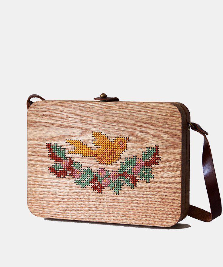 Bird Cross Stitched Oak Wood Bag by Grav Grav $205