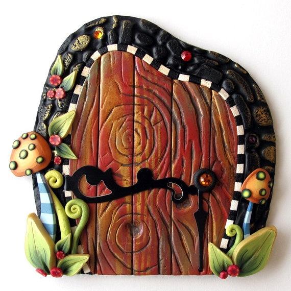 Mushroom fairy door kids wall art home decor home kid for Fairy door wall art