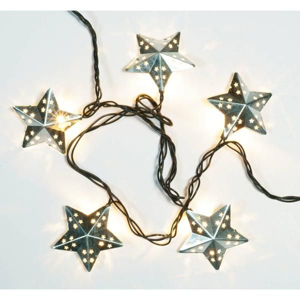 Decorate your patio, porch, outdoor area or special event with these galvanized silver colored metal star string lights. 10 lighted stars stamped cutout Gerson