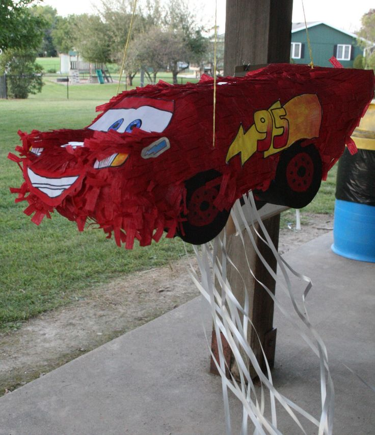 I made this Lighting McQueen pull string pinata for my son's 3rd…