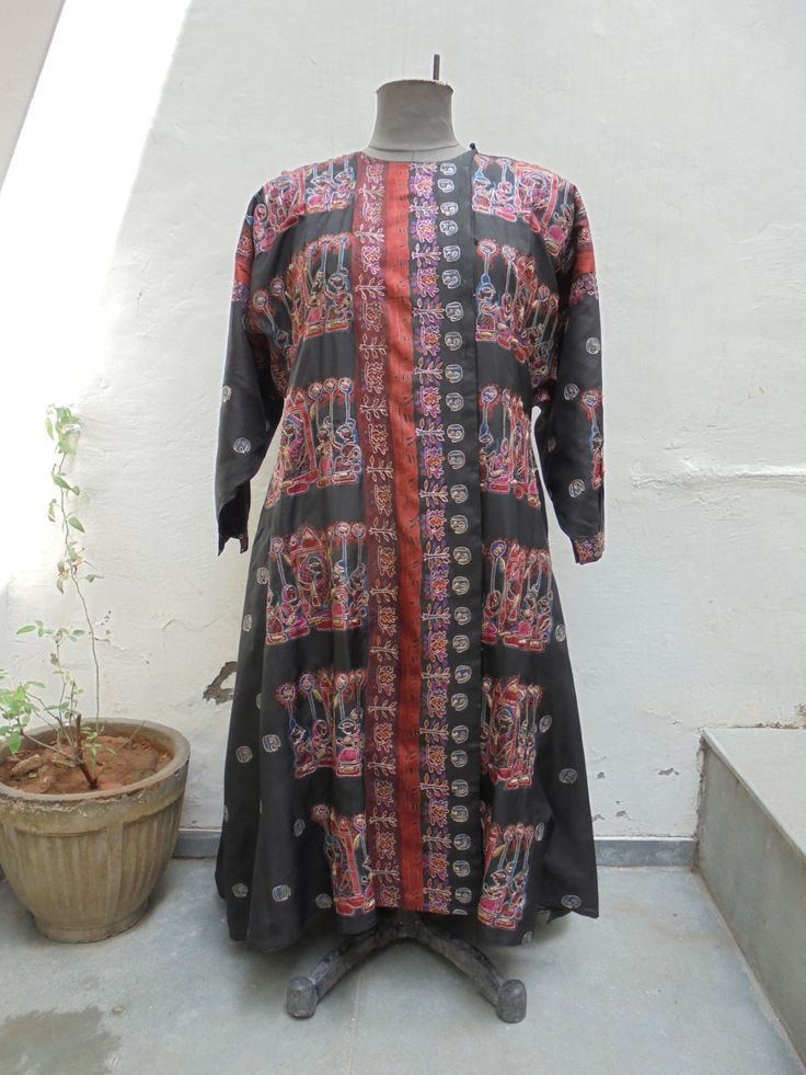 Vintage Black Silk Coat with Batik Work and Hand Embroidery in Gold Thread. by LallibhaiIndia on Etsy