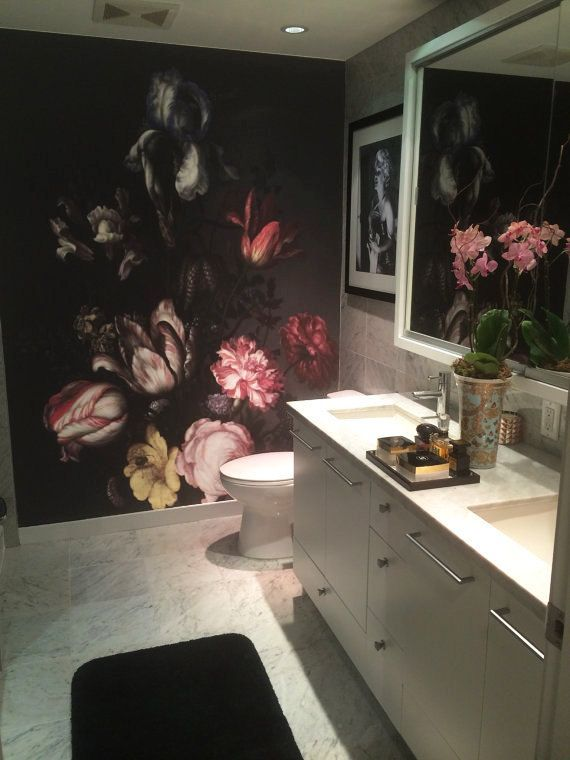Dutch Dark Vintage Floral Removable Wallpaper Wall By Lovecoloray Nz 291 71 Floral Bathroom Wallpaper Floral Bathroom Vintage Floral Wallpapers