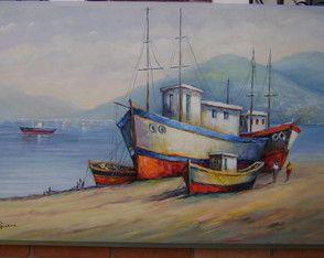 Barcos pesqueiros   em espátula