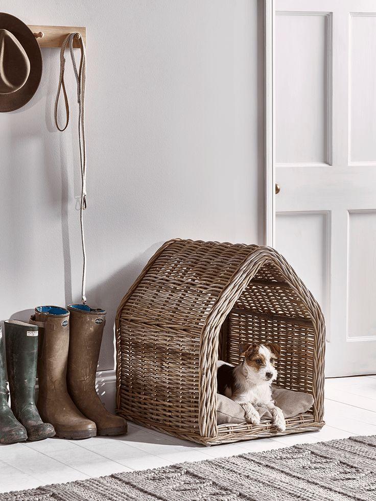 Rattan Pet House Large Dog bed luxury, Dog house bed