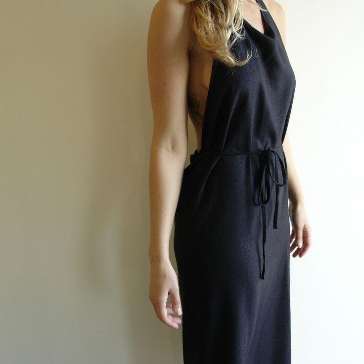 Apron Dress in Black Raw Silk