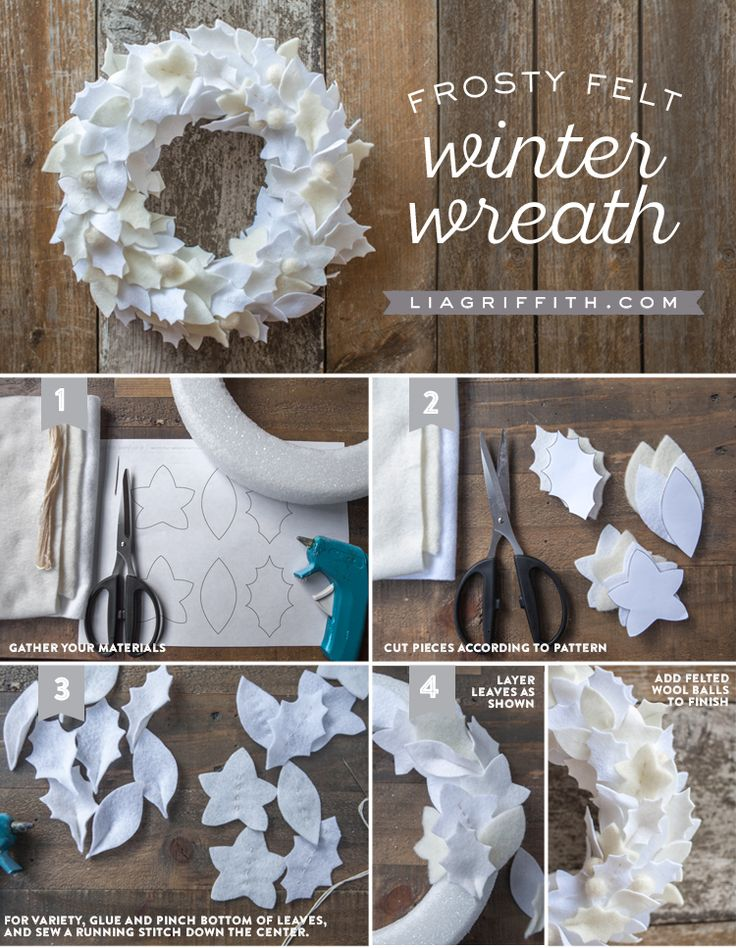 Make your own gorgeous frosty felt wreath with this downloadable pattern and tutorial by handcrafted lifestyle expert Lia Griffith and her team of elves.
