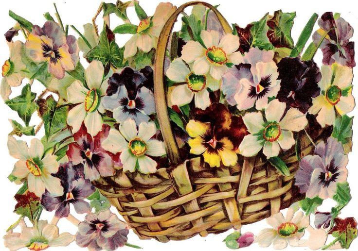 Oblaten Glanzbild scrap die cut chromo Blumen Korb XL 24cm fleur flower basket