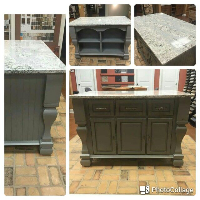KITCHEN ISLAND FOR SALE! Grey furniture style island with storage and shelving. Comes with Cambria Quartz Summerhill top. 54 1/2 x 34 1/2. $1,599. Available for pickup today! Call (865) 524-5529 Kitchen Sales Knoxville TN www.kitchensales.net