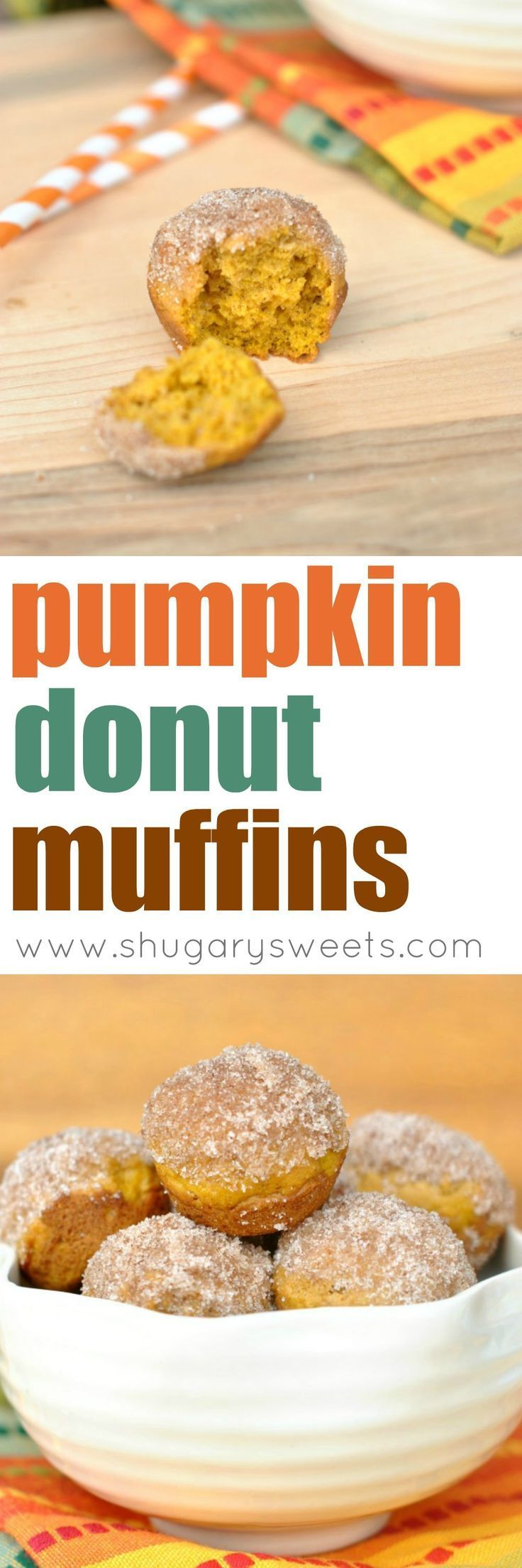Bite sized Pumpkin Donut Muffins! Roll in butter and cinnamon/sugar! These donut muffins freeze really well too!