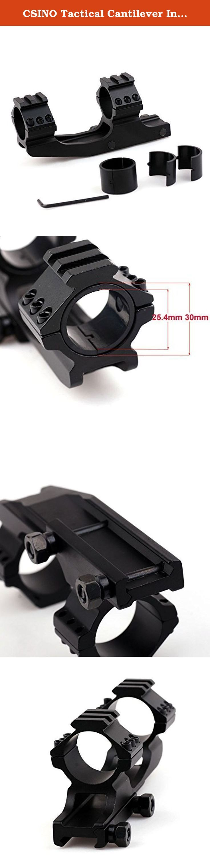 """CSINO Tactical Cantilever Integrated Dual Ring Flat Top Scope Mount Holder For AR AR-15 (30mm ring). Finish:Black Matte Ring Diameter:1""""(25.4 mm) Type: Rifle Base What is included: 1 x cantilever rifle scope mount 1 x Allen key."""