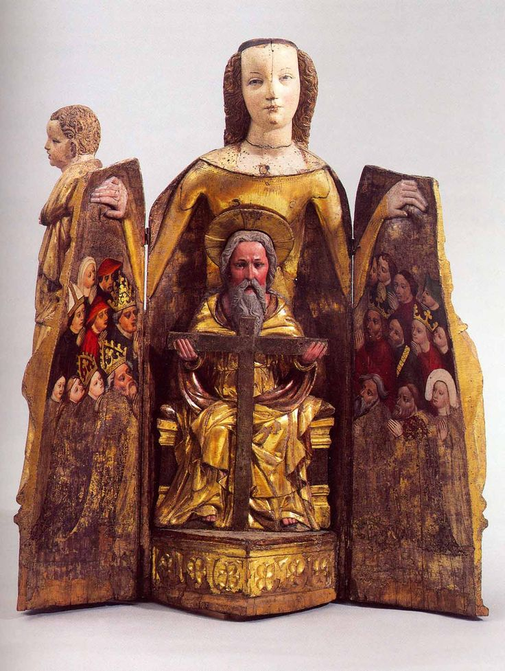 A painted wooden figure that opens to display a devotional scene: in the centre, Christ, with a cruciform halo (or God), holding a crucifix; on the wings to the left and right, the faithful of various stations in life.