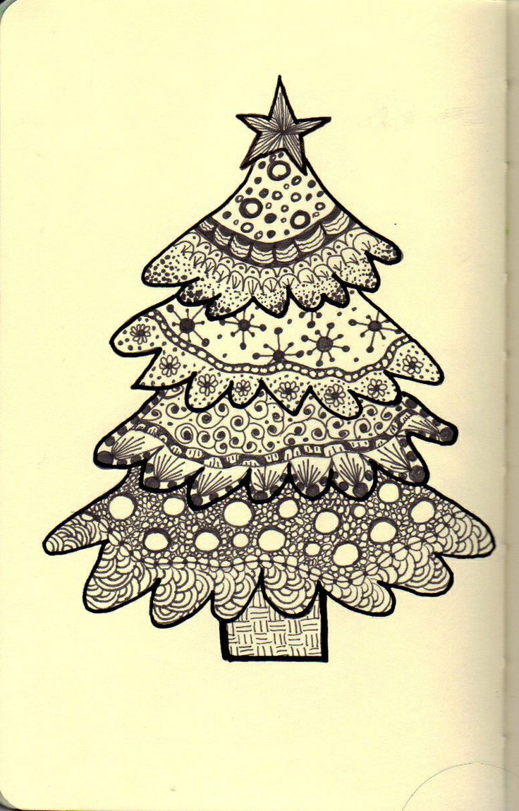 How to draw christmas tree red design hellokids com - The Colorful Quilter Zentangle Round The Christmas Tree