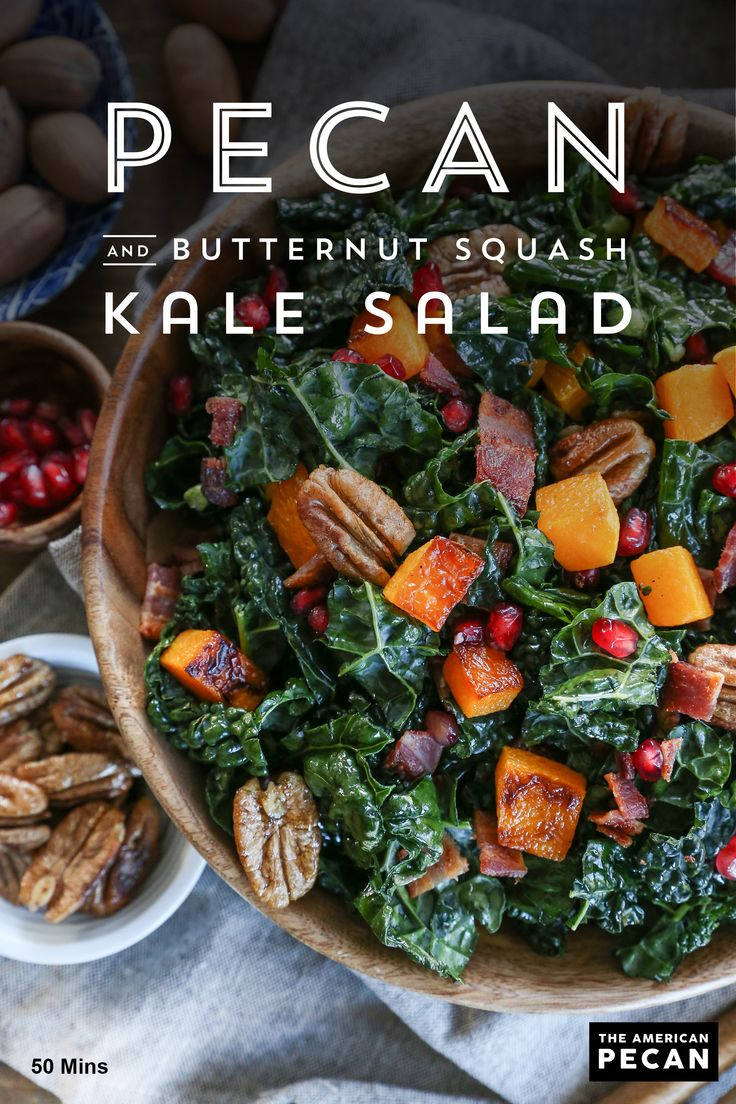 This satisfying and nutritious salad is the perfect balance of flavors. Naturally sweet pecans and butternut squash combine with hearty kale and are topped with a light, citrus orange vinaigrette.