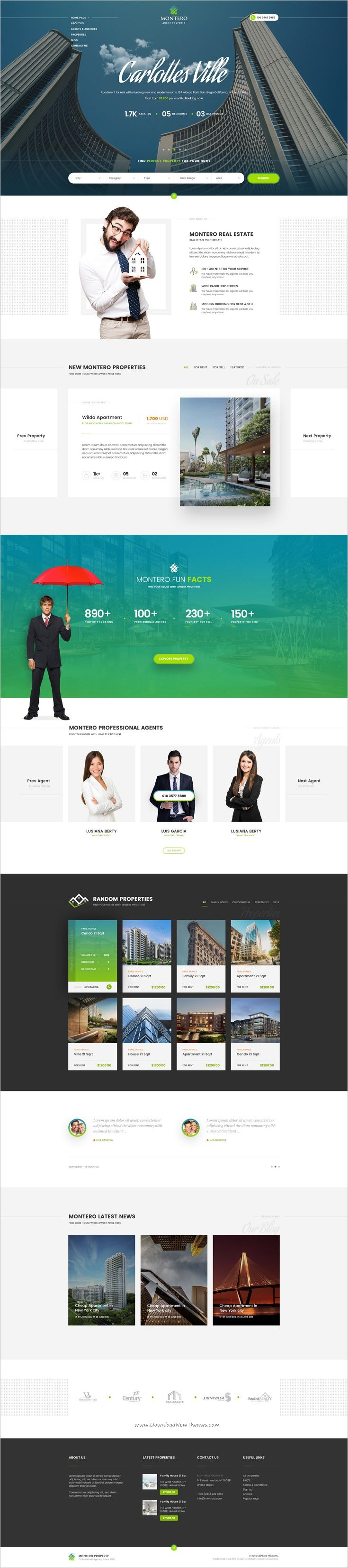 Montero is beautifully design premium #PSD template for #webdesign real estate and #property company website download now➩ https://themeforest.net/item/montero-real-estate-property-psd-template/18964920?ref=Datasata