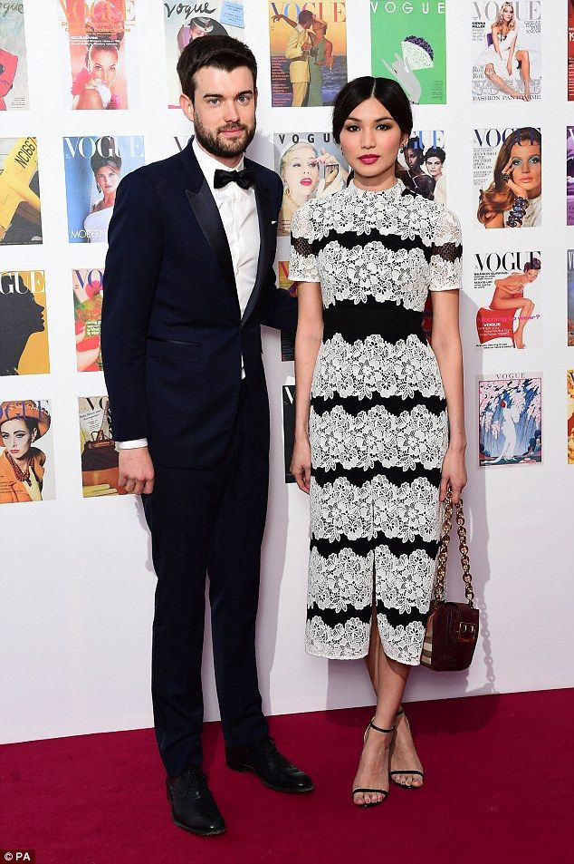 Cute couple: Gemma Chan and Jack Whitehall looked happy together as they posed for picture...