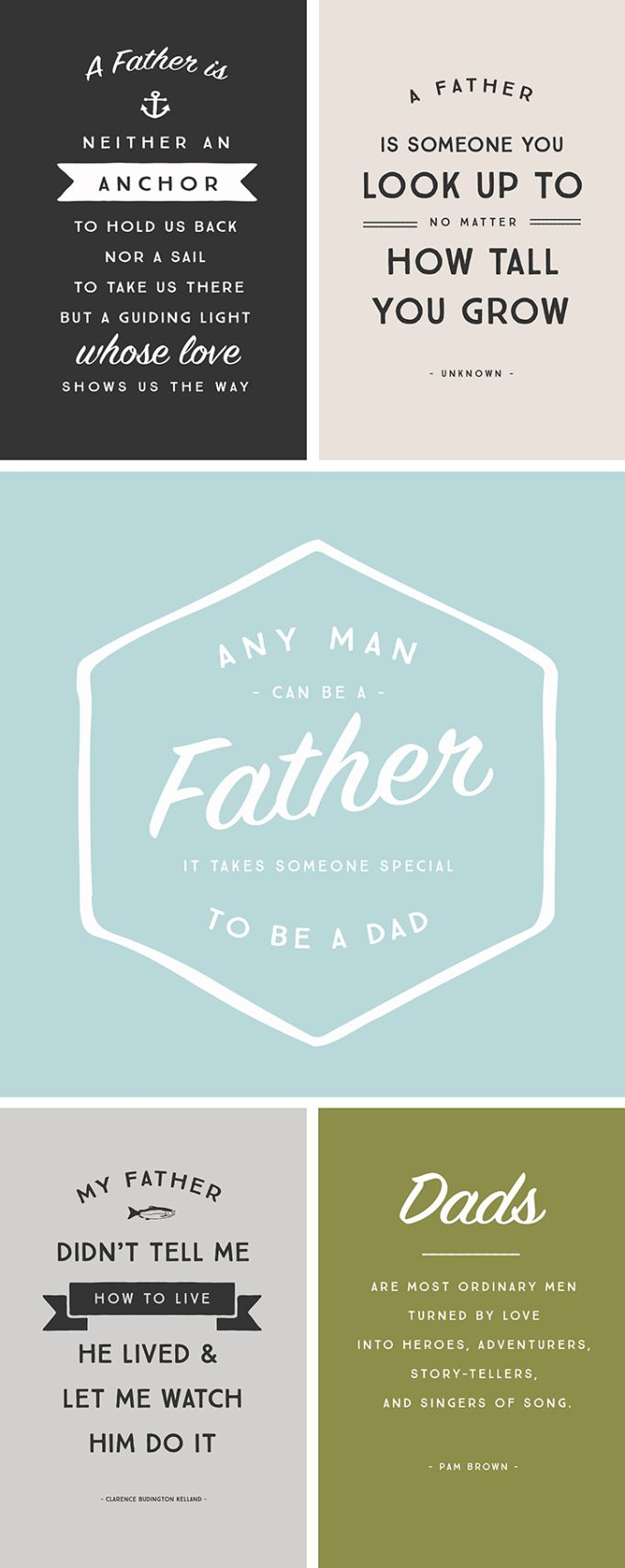 5 Inspirational Quotes for Fathers Day Free Printable Filler Cards | [ One Velvet Morning ]