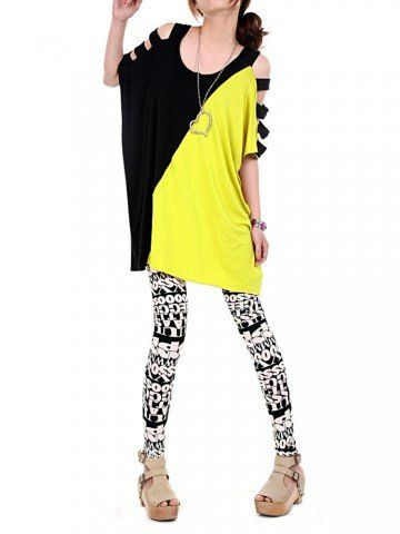 Casual Women Batwing Sleeve Color Contrast Off-Shoulder Blouse 11.91€