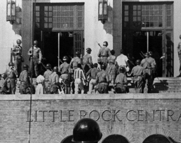 After Governor Orval Faubus deployed the Arkansas National Guard to block the students from entering the school on Sept. 4, President Eisenhower countered by sending in the federal troops to escort the students to class weeks later, making their first day of school Sept. 25, 1957.