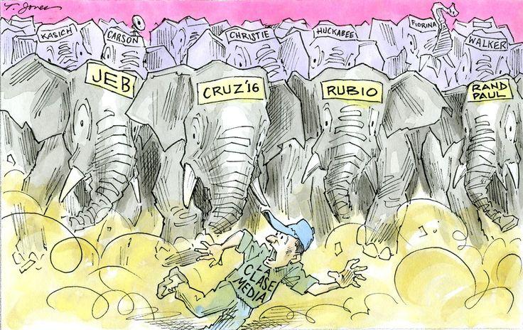 ELECCIONES 2016 A 18 meses de los comicios presidenciales de EE.UU. para escoger al sucesor o sucesora de Barack Obama, la lucha por la candidatura del Partido Republicano parece más una desenfrenada carrera de elefantes -precisamente el símbolo de la colectividad- que una oportunidad para el choque sosegado de ideas que dé un impulso decisivo a la carta de triunfo del GOP para hacerle frente a la virtual candidata demócrata, la ex primera dama Hillary Clinton. Mientras, la vapuleada clase…