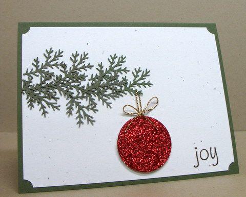 Carte de Noël : branche et boule