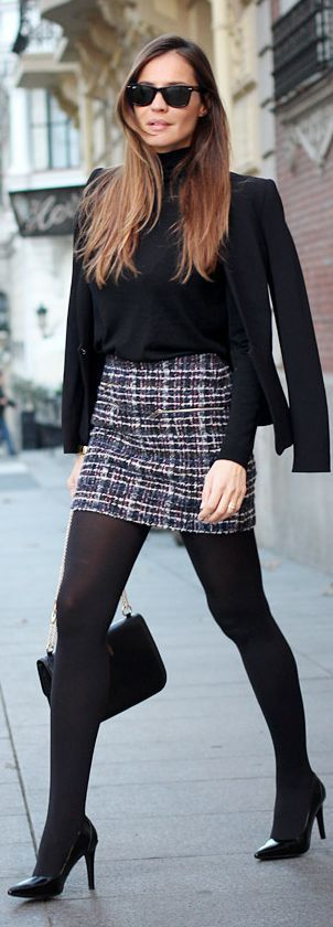 Tweed Mini and black turtleneck...love this look...maybe with boots instead of heels?