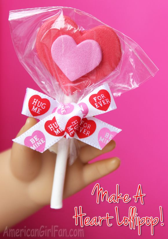 How To Make A Valentine's Day Heart Lollipop For American Girl Dolls! (click through for tutorial)