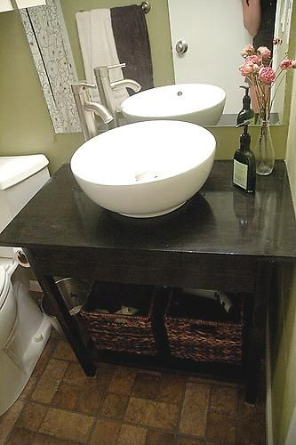Simple Open Farmhouse Style Vanity plans: Bathroom Sink, Bathroom Vanities, Bathroom Idea, Farmhouse Style, Bathroom Vanity, Guest Bath, Open Farmhouse