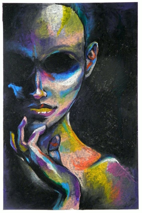 11x17 Ominous Oil Pastel Portrait by AshleyDorney on Etsy -I like the usage of the oil pastel towards this image as it makes the image stands out more but also because of its dark background.