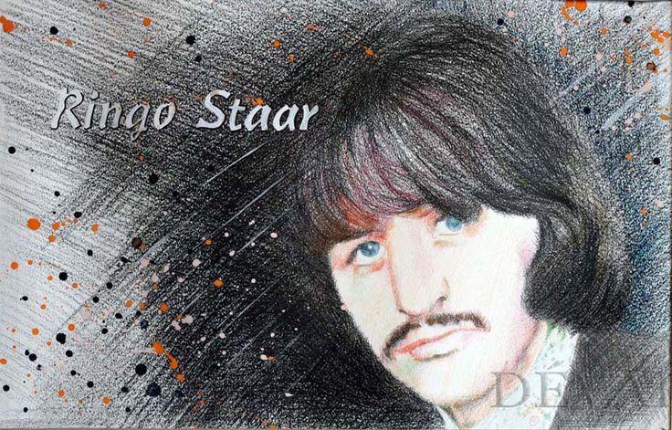 Grafik: Alex Devai Color Pencil, aquarell Ringo Starr