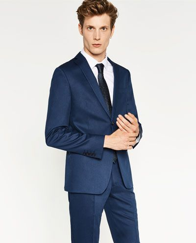 COSTUME EN CHINTZ BLEU - COSTUMES-HOMME | ZARA France