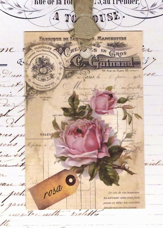 Items similar to Vintage French Gift Tags Roses by Bluebird Lane on Etsy