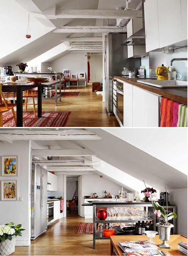 Em Estocolmo: são 94 metros quadrados (nem é tão pequeno) de muita luz natural, teto inclinado, com um visual interessante, organizado e muitos cantinhos bem resolvidos.