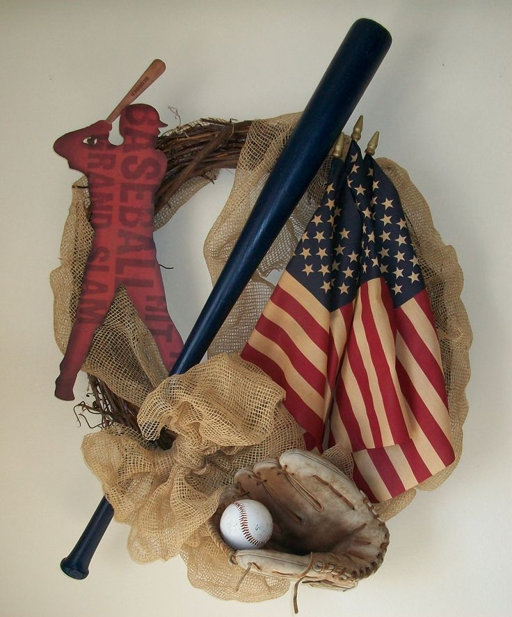 Baseball Wreath Bat and Glove, Ball and Bat, MLB, All-American, Glove and Ball, Summer Wreath, Lake Wreath, Outdoor Wreath, Indoor Wreath, Unique Wreath, Americana Wreath