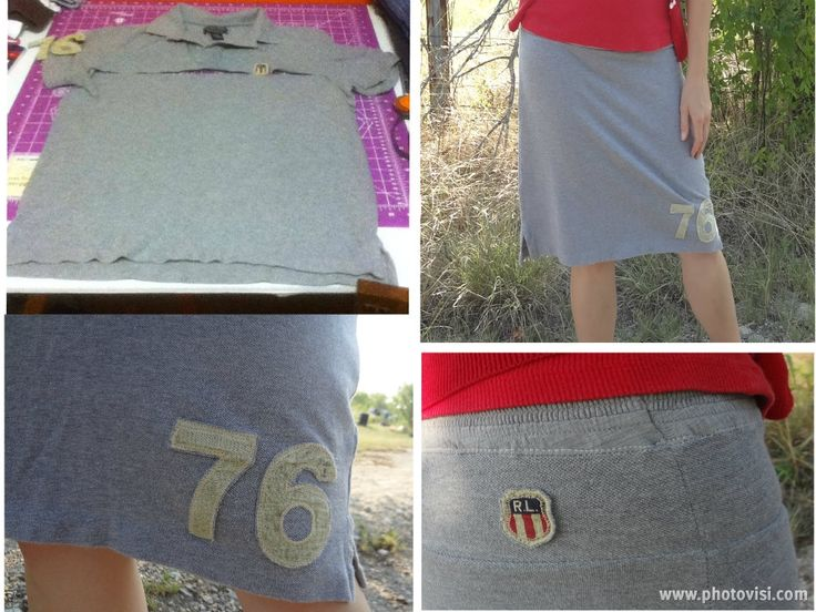 A skirt I made from an XL boy's polo shirt! I cut the numbers off the sleeve and sewed them to the bottom of the skirt. It has an elastic waist. I can make these in about any color, size and length and they start at $25 for adult sizes, $20 for child's sizes.