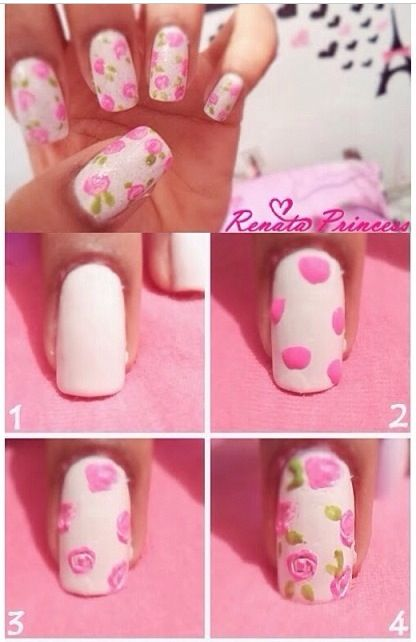 rose nails (: easy step by step tutorial on how to make roses for nail designs