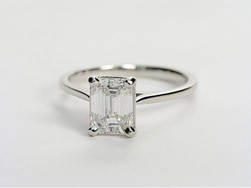 Oo-la-la! Simple, thin band, and one BIG ol diamond. Yes, please. Petite Cathedral Solitaire in Platinum.