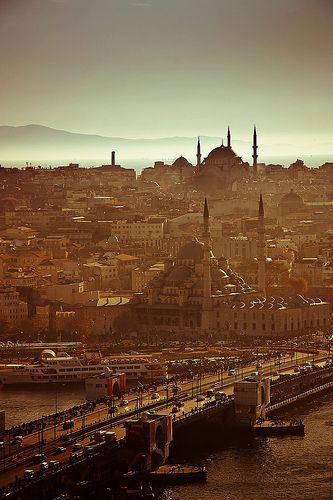 The Golden Horn, the Galata's bridge,   Yeni Camii and  Sulemaniye camii seen from the Galata's Tower in #Istanbul #Turkey #kitsakis