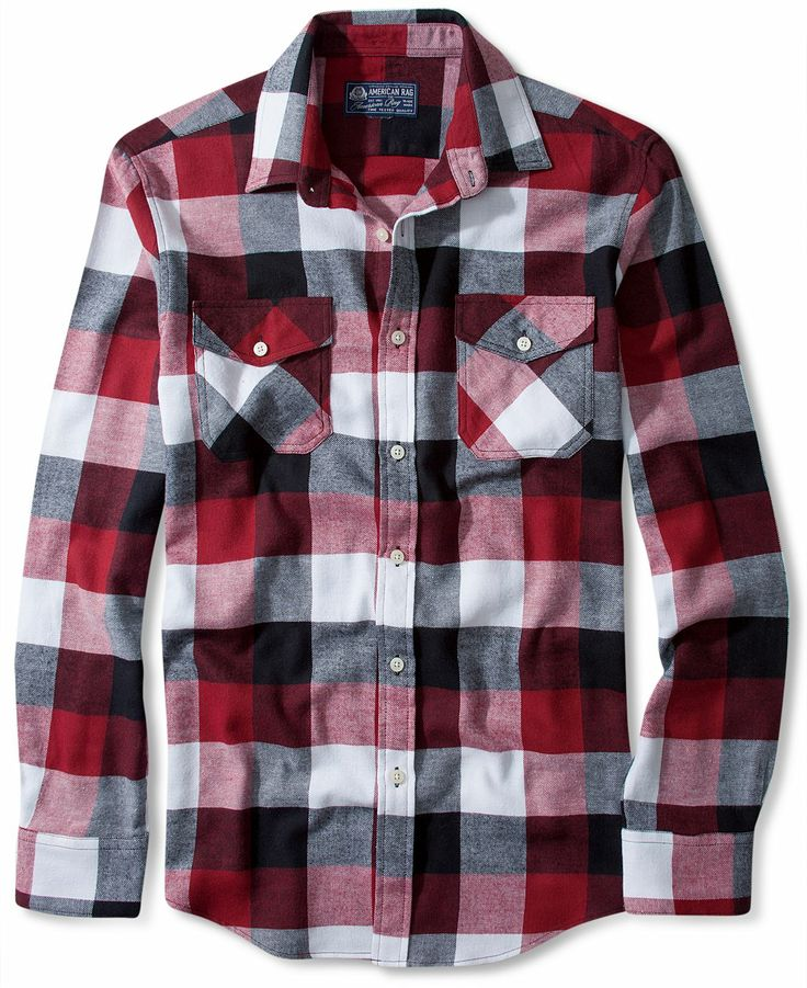 American Rag Shirt, Enoki Flannel Long Sleeve Shirt - Casual ...