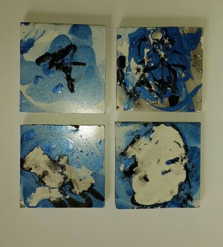 Handmade ceramic tile coasters, abstract coasters, tile coasters; coasters. Set of 4. Abstract blue, by Sami decor and design. #handmadewithlove