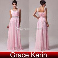 Grace Karin 2016 nueva moda Scoop rebordear lentejuelas rosa gasa vestido de dama de honor vestidos formales para damas CL6007